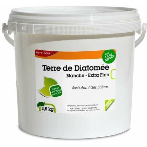 Terre de diatomée blanche extra pure. Seau 2 kg + 500 g offert