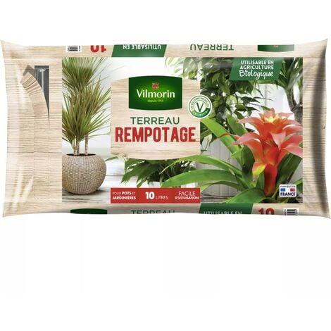 Terreau rempotage plantes d'intérieur vertes et fleuries - Sac de 10 litres