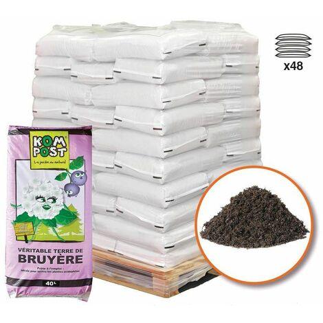 Terreau terre de bruyère forestière 48 sacs 40 litres plantes extérieures