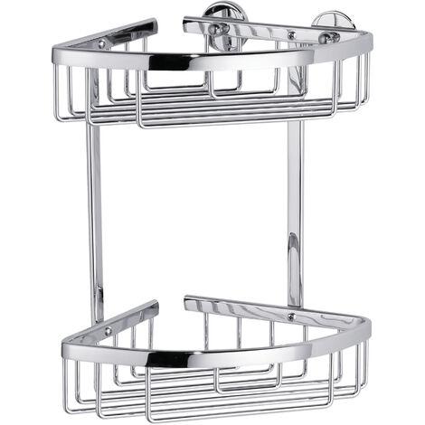 tesa® Aluxx Étagère d'angle 2 paniers, finition brillante aluminium chromé, adhésif, 260mm x 163mm x 170mm