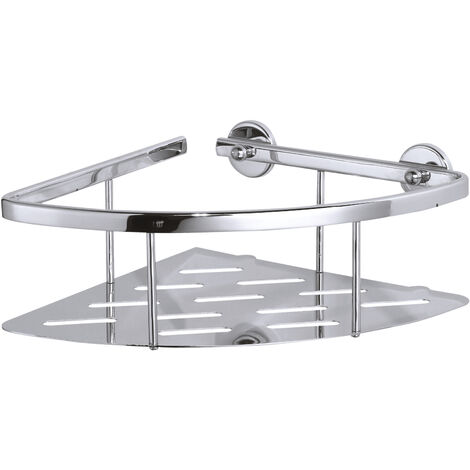 tesa® Aluxx Étagère d'angle 2 paniers, finition brillante aluminium chromé, adhésif, 92mm x 250mm x 125mm