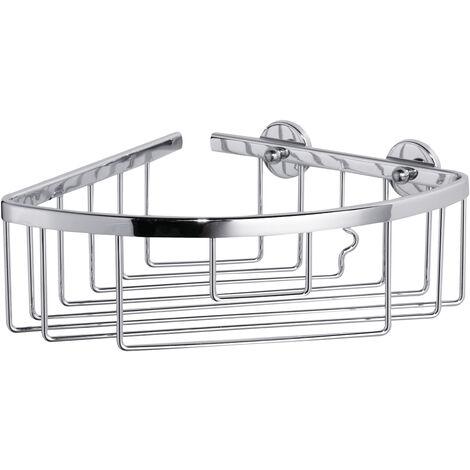 tesa® Aluxx Panier d'angle pour douche , finition brillante aluminium chromé, adhésif, 92mm x 192mm x 200mm