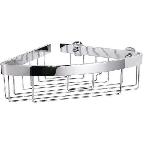 tesa® Aluxx Panier salle de bain, finition brillante aluminium chromé, adhésif, 87mm x 205mm x 210mm