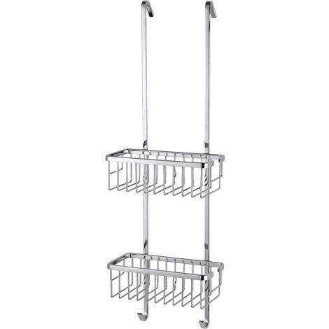 tesa® Aluxx Rangement de douche, finition brillante aluminium chromé, avec crochets pour suspendre, 750mm x 250mm x 163mm