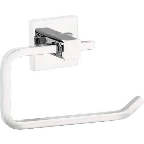 tesa® Deluxxe Dérouleur papier toilette sans couvercle, adhésif, chromé, design moderne, inoxydable, 99mm x 160mm x 45mm