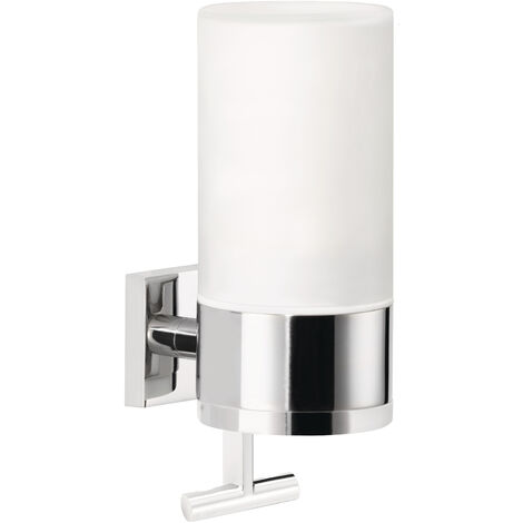 tesa® Deluxxe Distributeur de savon, adhésif, chromé, design moderne, garanti inoxydable, 192mm x 73mm x 115mm