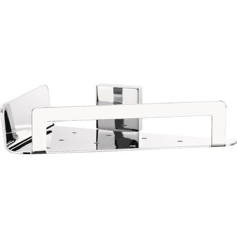 tesa® Deluxxe Panier d'angle, adhésif, chromé, design délicat, garanti inoxydable, 55mm x 220mm x 150mm
