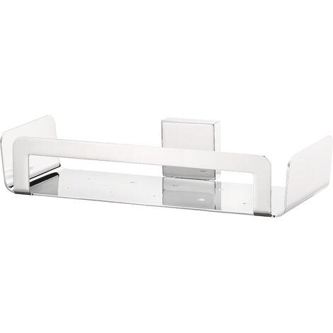 tesa® Deluxxe Panier de bain/douche, adhésif, chromé, design moderne, garanti inoxydable, 55mm x 265mm x 120mm
