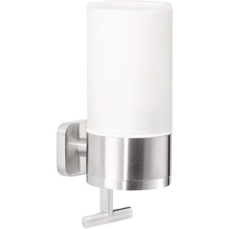 tesa® Esteetic Distributeur de savon, adhésif, acier inoxydable, design exceptionnel, 192mm x 73mm x 115mm