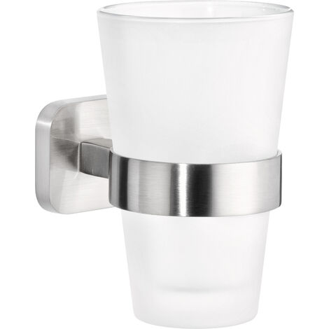 tesa® Esteetic Porte-gobelet, adhésif, acier inoxydable, design exceptionnel, 125mm x 80mm x 120mm