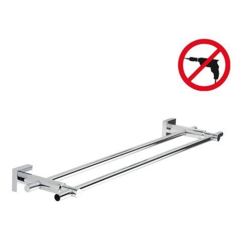 Tesa Hukk Porte-serviettes 2 barres fixes, métal chromé, pose facile sans perçage (40253-00000-00)