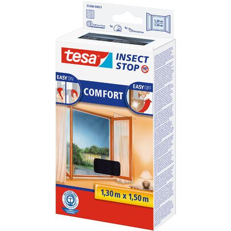 tesa® Insect Auto-agrippant COMFORT pour fenêtres, Moustiquaire - Système Easy-on/Easy-off, amovible, réutilisable et lavable, Anthracite, 130 cm x 150 cm