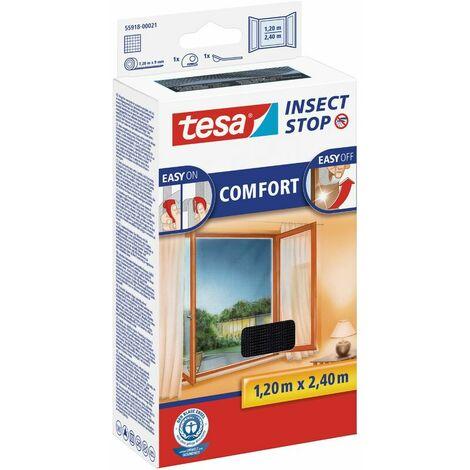 tesa® Insect Stop Auto-agrippant COMFORT pour portes-fenêtres, noir, Moustiquaire Easy-on/Easy-off, démontable, réutilisable et lavable, 120 cm x 240 cm