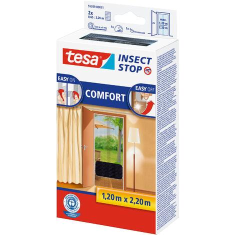 tesa® Insect Stop Auto-agrippant pour portes, Moustiquaire - système Easy-on/Easy-off, amovible et réutilisable, lavable, gris anthracite , 120 cm x 220 cm