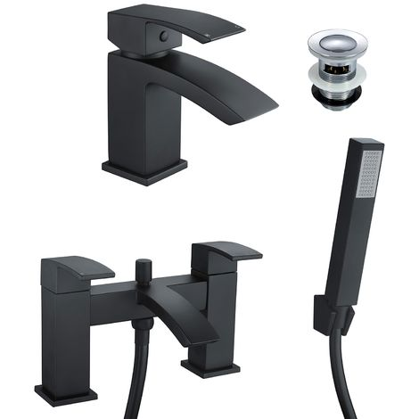 Tesa Waterfall Black Matt Bath Shower Handset Mixer Tap & Basin Mixer Tap Set + Waste