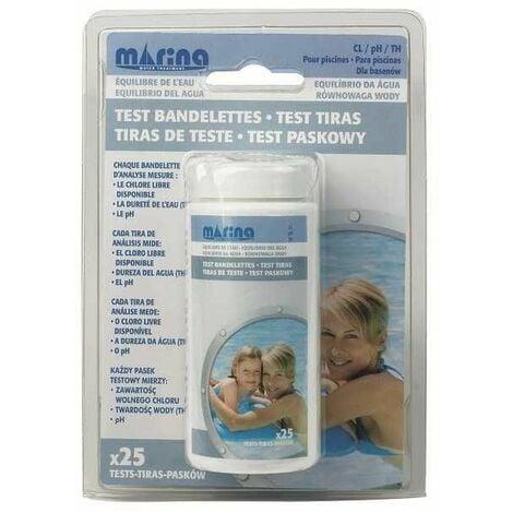 Test bandelettes x 25 Chlore / TH / pH Marina