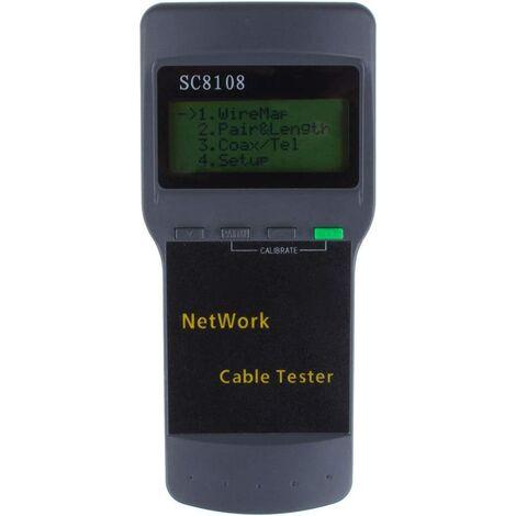 Testeur de câble, Portable SC8108 RJ45 Réseau LAN Longueur Testeur de câble Testeur de Compteur Téléphone Emplacement du Câble Testeur Compteur Mesure
