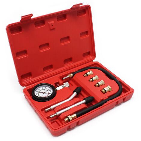 Testeur de compression pour Voiture/ Poids lourd Moteurs à essence, 0-21 bars 9-Pièces Kit