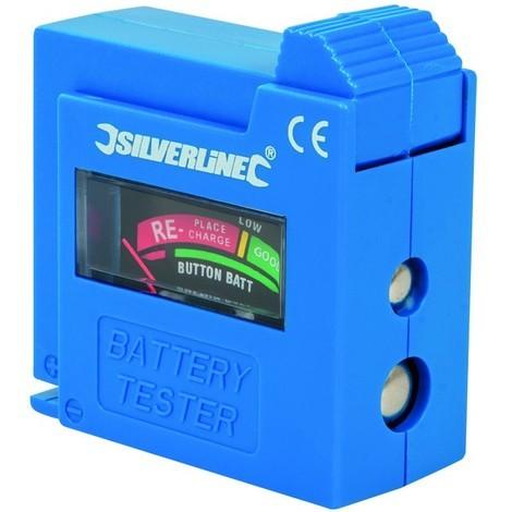 Testeur de piles compact AAA, AA, C, D, 9 V, LR1, A23 et bouton