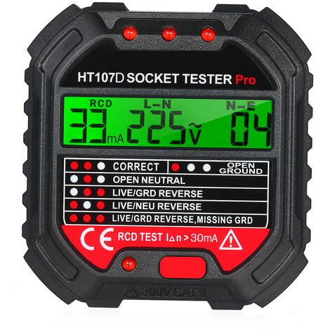 Testeur de prise LCD a affichage numerique fil de terre fil zero fil d'incendie detecteur de fuite de polarite de phase expedie sans batterie