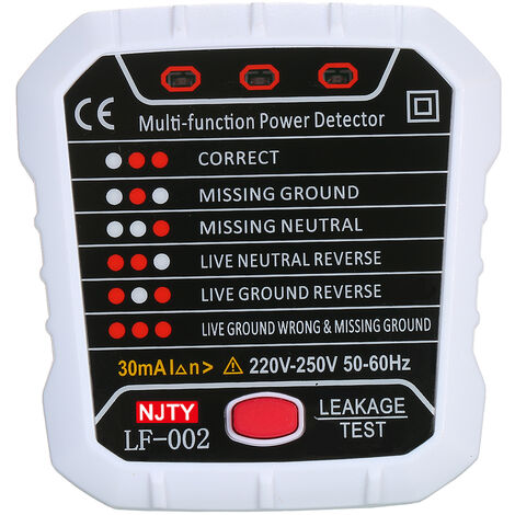 Testeur de prise NJTY fil de terre fil neutre fil d'incendie detecteur de fuite de polarite de phase LF002 grande norme europeenne