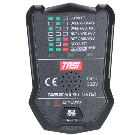 Testeur de prise TASI (TASI) electroscope multifonction Fil de terre Fil neutre Fil de detection de fuite de fil d'incendie Diffusion vocale TA892C Norme europeenne