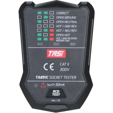Testeur de prise TASI (TASI) electroscope multifonction fil de terre fil zero detection de fuite de fil d'incendie TA891C norme europeenne