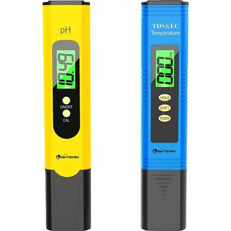 Testeur de qualité de l'eau, pH-mètre avec Une résolution Haute précision de 0,01, 3 en 1 TDS + EC + Compteur de température pour Eau Potable, Aquarium, Piscine, Spa (Jaune)
