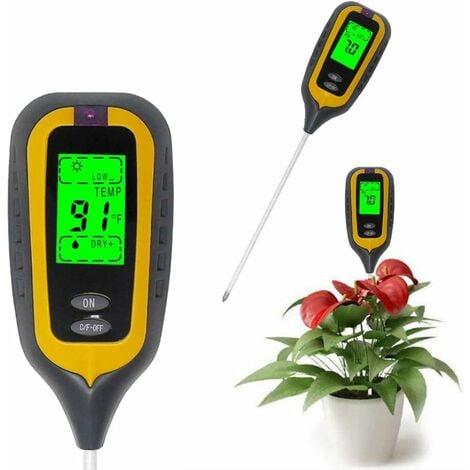 Testeur de Sol pH d'humidité Température Lumineuse 4 en 1 pH Metre de Sol Humidité Testeur Terre Electronique pour Jardin Plantes Jaune