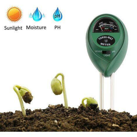 Testeur d'humidité du Sol, Testeur de Plantes 3 en 1, Tsteur de PH et d'humidité, Intensité Lumineuse mètre de Plante Testeur pour Jardin, Ferme, Gazon Sans Piles