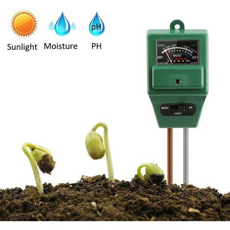 Testeur d'humidité du sol, testeur de sol, testeur de plantes 3 en 1, testeur de pH et d'humidité, intensité lumineuse mètre de plante testeur pour jardin, ferme, gazon sans piles