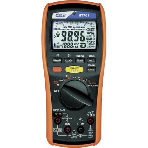 Testeur d'isolement HT, 50, 100, 250, 500, 1000 V DC, CAT IV 600 V / CAT III 1000V HT Instruments HT701 Q59039