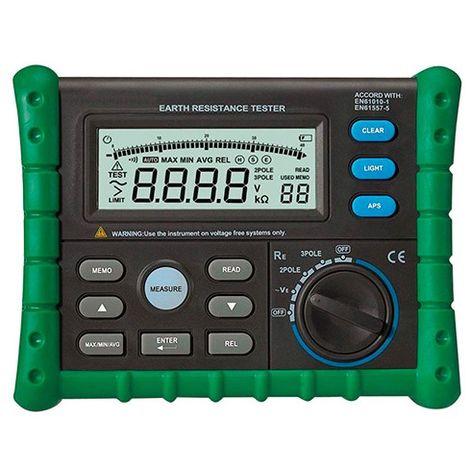 Testeur mesureur de mise à la terre. LCD rétro-éclairé - TES302 - D-Work - -