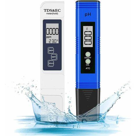 Testeur pH Piscine, Mètre Électronique 4-en-1 PH TDS Testeur de Qualité de l'eau, Température avec Écran LCD,Test pour Potable, Aquariums, Hydroponie, Piscins (Bleu et Blanc)