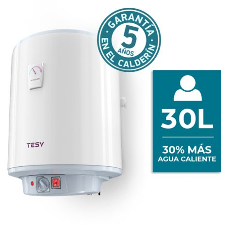 TESY Anticalc - Termo de Agua Eléctrico Vertical de 30 Litros con Resistencias Envainadas de Doble Potencia.