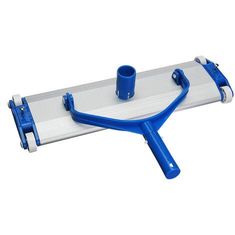 Tete d'aspiration de salete de piscine en alliage d'aluminium de 17,5 pouces, tete d'aspiration sous vide lestee avec brosse inferieure, outil de nettoyage de spa de piscine, bleu