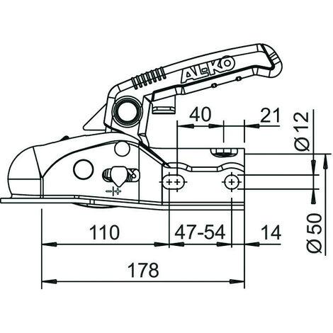 Tête d'attelage pour remorques freinées ALKO 1.6T -S18016
