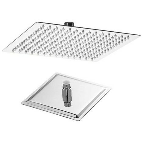 Tête de douche carré 200x200mm, acier inox chromé, articulée