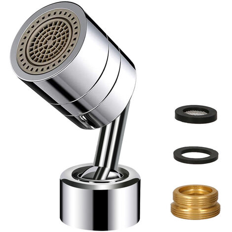 Tete de filtre de robinet rotative universelle a 720¡ã, conception etanche avec double joint torique, cuivre durable et ABS,modele:Argent