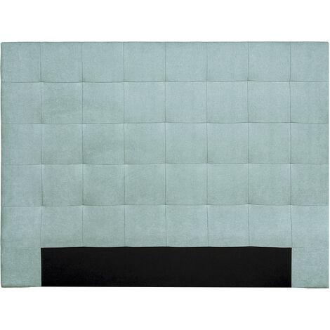 Tête de lit capitonnée effet velours vert lagon 160 cm HALCIONA