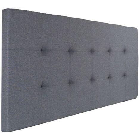 Tête de lit capitonnée ELZA en tissu gris anthracite pour lit 140 et 160 cm