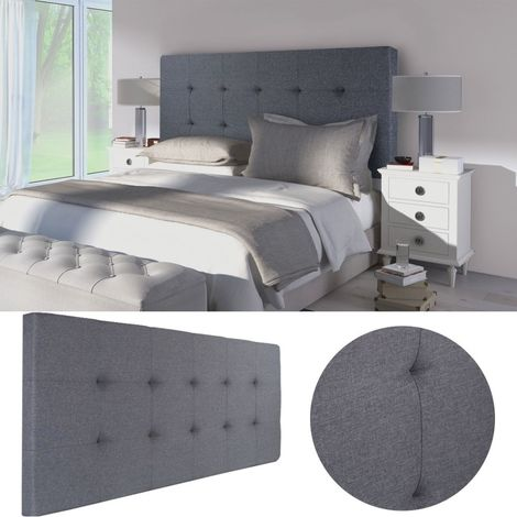 Tête de lit capitonnée en tissu 160x58 cm grise anthracite