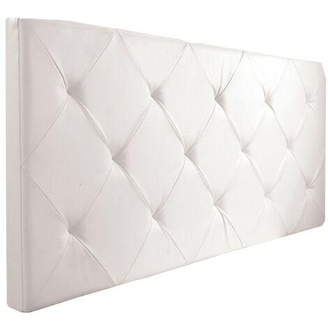 Tête de lit capitonnée EVA PVC blanc pour lit 140 et 160 cm
