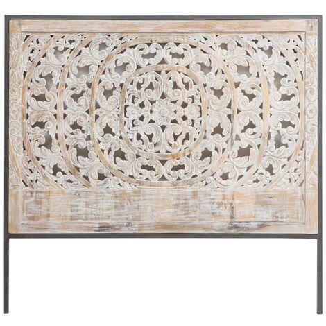 Tête de lit en bois blanchi sculpté - Manguier