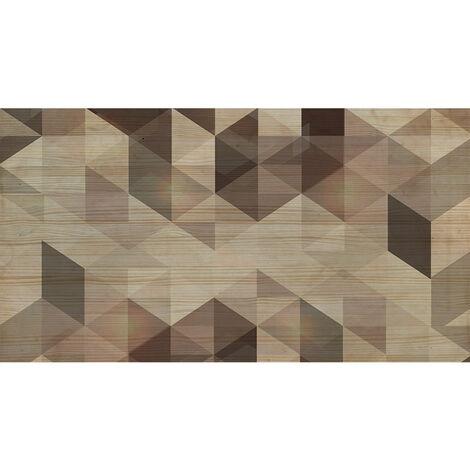 Tête de lit naturelle 'Geométrique Brun' 105x80cm