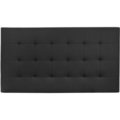 Tête de lit similicuir à plis noire 90x80cm