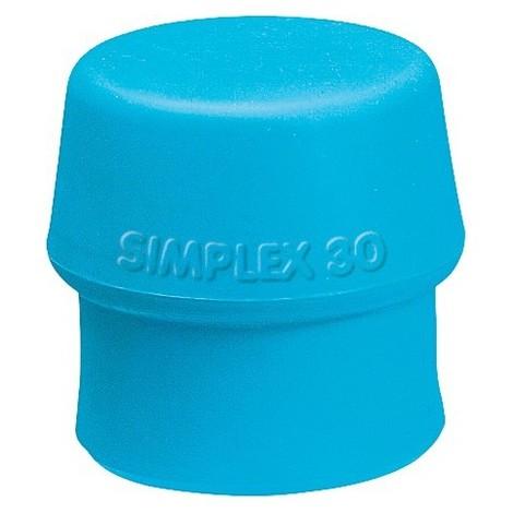 Tête de maillet à frappe amortie SIMPLEX Ø de la tête 60 mm TPE-soft bleu tendre TPE bleu/doux