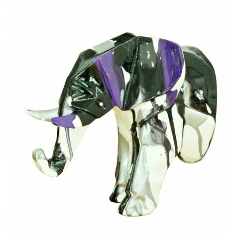 Tête éléphant blanc déco murale avec jets de peintures noirs et violets - Noir