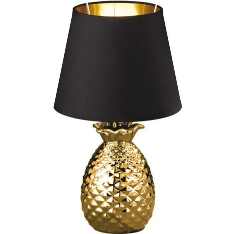 Textil Nacht Schreib Tisch Lampe SCHWARZ GOLD Ananas Design Keramik Leuchte im Set inkl. LED Leuchtmittel