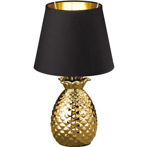 Textil Nacht Schreib Tisch Lampe SCHWARZ GOLD Ananas Design Keramik Leuchte Reality Leuchten R50421079